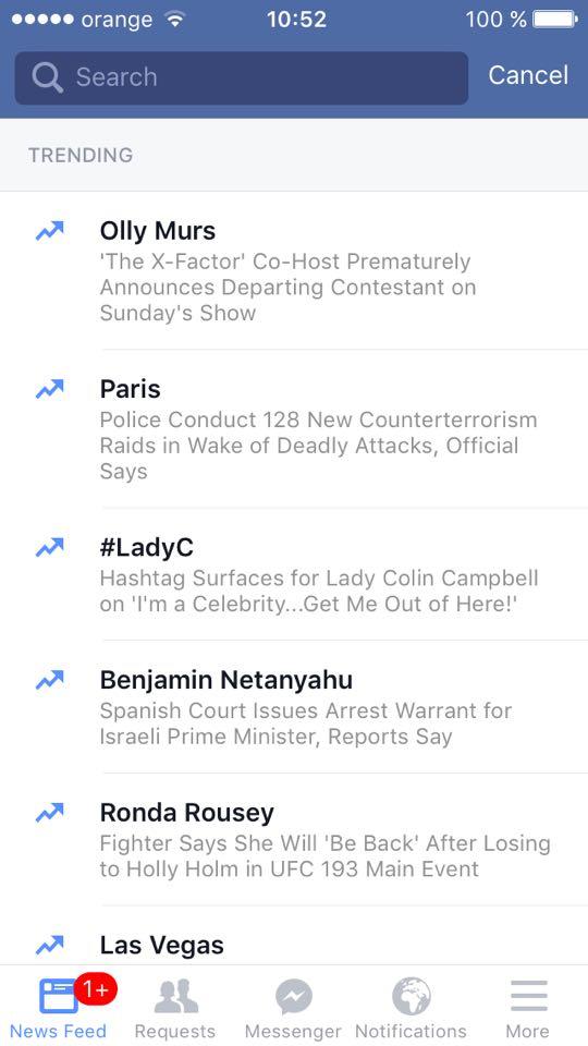Facebook a modificat functia search pentru mobile