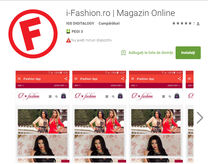 Descarca noua Aplicatie Android i-Fashion.ro din Google Play Store